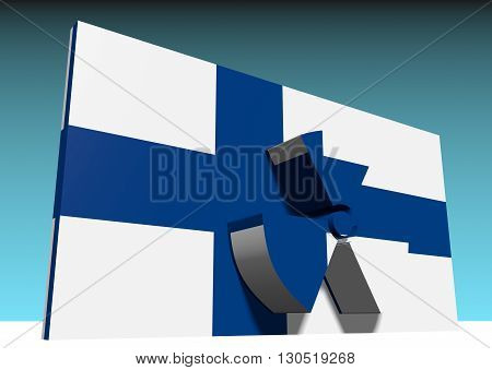 atom energy symbol and finland national flag. 3d rendering