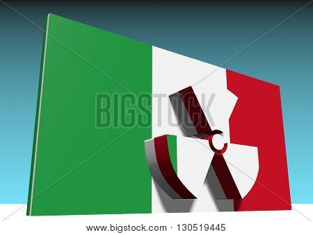 atom energy symbol and italy national flag. 3d rendering