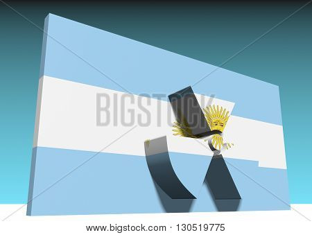 atom energy symbol and argentina national flag. 3d rendering