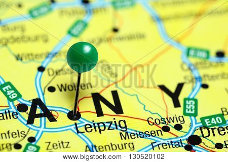 Leipzig pinned on a map of Germany