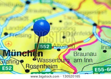 Wasserburg am Inn pinned on a map of Germany