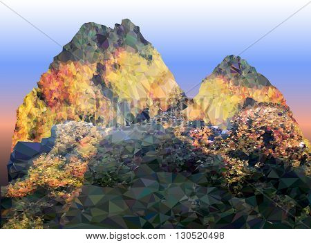 Abstract mountain landscape in autumn colors with stone road