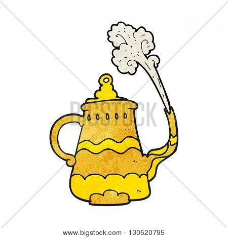 freehand textured cartoon fancy coffee pot