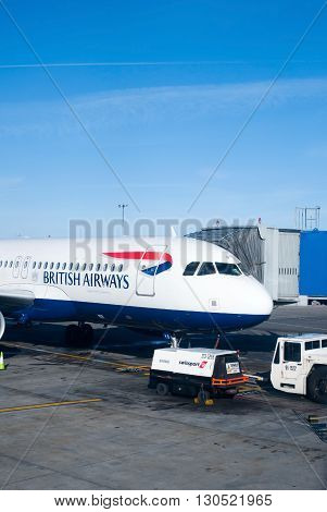 Dublin Ireland - 01 February 2015: British Airways passenger planes stand at their gates under dark skies at Dublin Airport Ireland