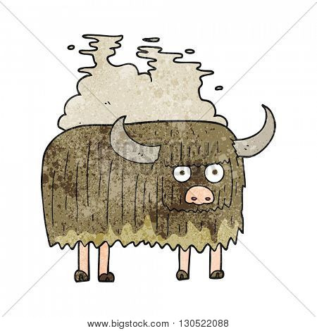 freehand textured cartoon smelly cow