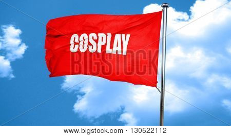 Cosplay, 3D rendering, a red waving flag