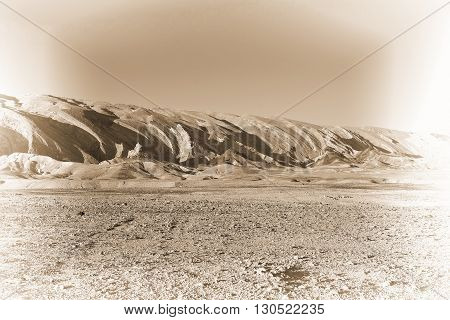 Rocky Hills of the Negev Desert in Israel Retro Image Filtered Style