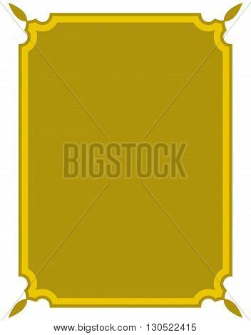 Simple Yellow Vector Line Border Frame Isolated Illustration