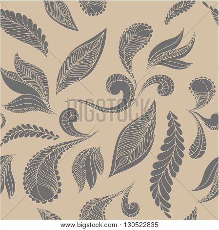 Vector seamless pattern of feathers. Ethnic doodle indian design background.