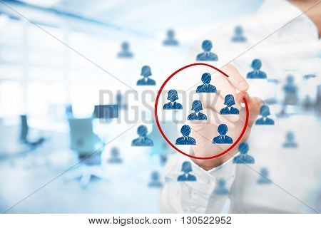 Marketing segmentation management target market target audience customers care customer relationship management (CRM) human resources recruit and customer analysis concepts double exposure with office in background.