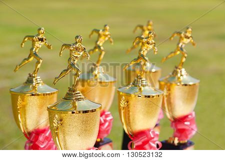 Track and Field trophies outdoor on a bright sunny day with selective focus on the nearest trophy blurred background