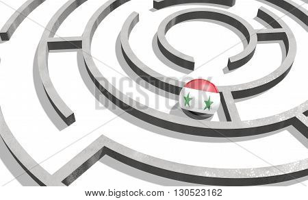 Image relative to politic situation in Syria. National flag textured sphere in labyrinth. 3d rendering