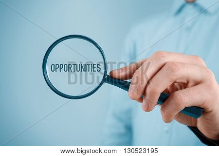 Businessman is looking for market opportunities. Marketing specialist focused on opportunities (SWOT analysis).