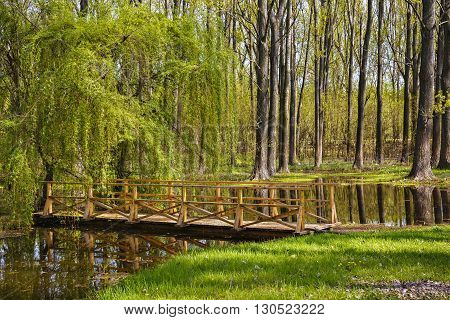 wooden bridge over a small canal in a spring landscape.