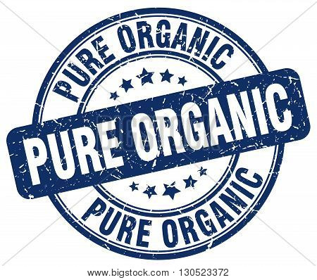 pure organic blue grunge round vintage rubber stamp