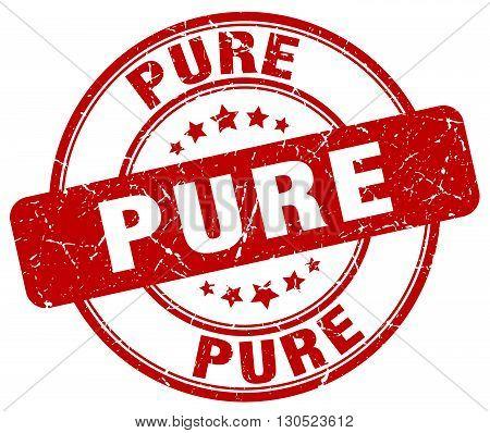 pure red grunge round vintage rubber stamp