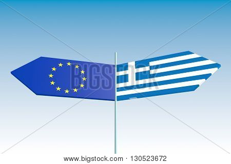 image relative to greece politic situation. road sign arrows textured by greece and european union flags.3D rendering