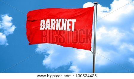 Darknet internet background, 3D rendering, a red waving flag