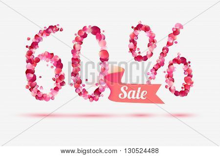 sixty (60) percents sale. Vector digits of pink rose petals