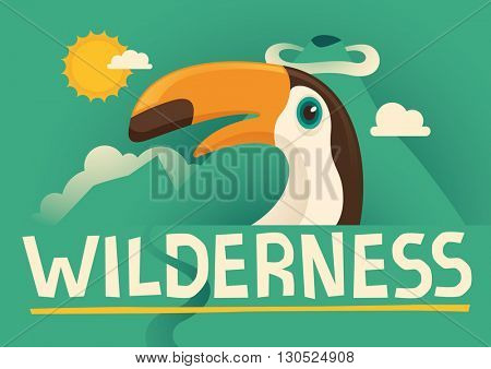 Illustrated poster with toucan. Vector illustration.