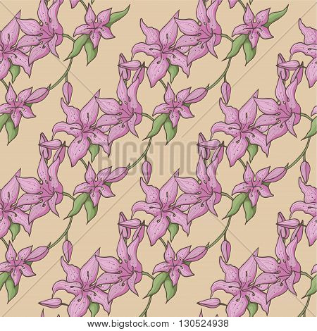 Pink lily isolated on a beige background. Card with blooming lily. Vector illustration pattern