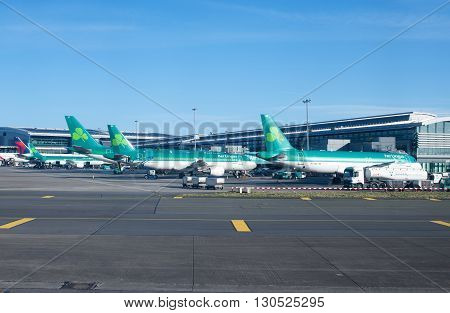 Dublin Ireland - 01 February 2015: Aer Lingus planes lined up at Terminal 2 at Dublin Airport Ireland