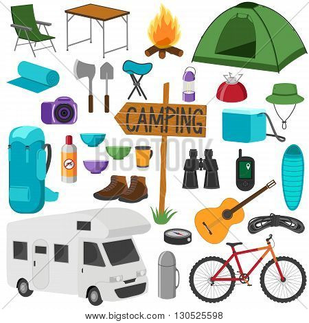 Set of camping equipment symbols. Hike collection. Icons set isolated on white background.