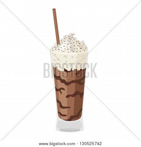Chocolate milkshake. Coffee. Cartoon icon isolated on a white background. Vector illustration.
