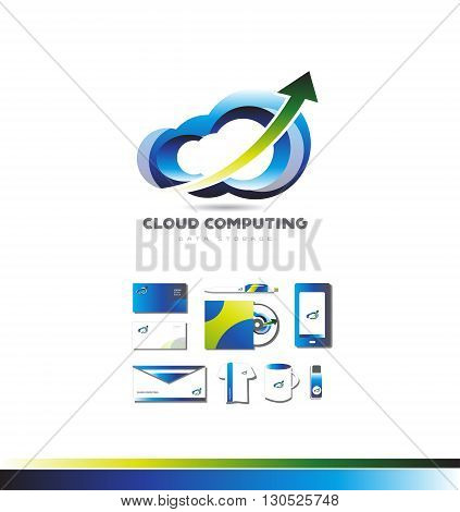 Vector company logo icon element template cloud computing shape storage data transfer technology