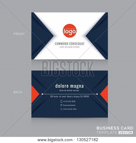 Abstract modern navy blue triangle Business card name card Design Template