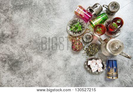 Arabic tea table setting. Oriental hospitality. Ramadan kareem. Muslim holidays. Islam