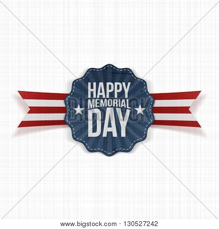 Happy Memorial Day festive Banner with Text and Shadow. Vector Illustration