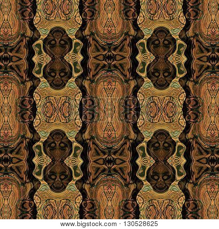 Abstract seamless pattern with stylized masks of monkeys resembling ethnic motifs and reptile skin