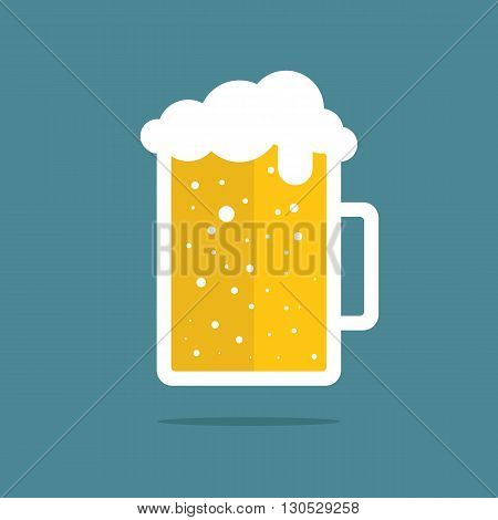 Mug of beer. Beer mug icon. Flat vector illustration.