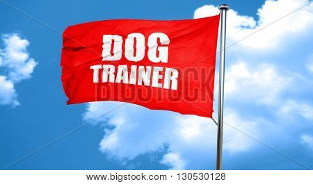 dog trainer, 3D rendering, a red waving flag