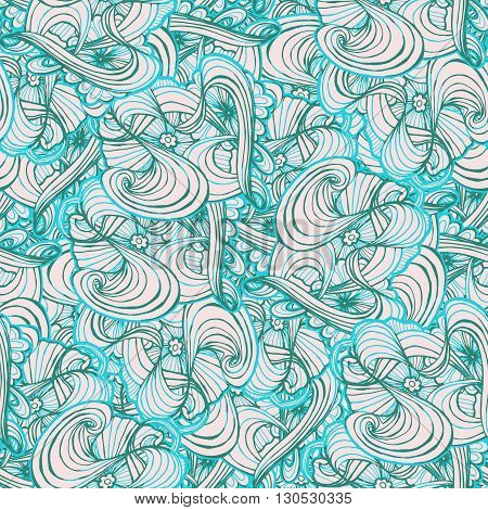 Seamlessly tiling wave pattern. Doodle style tile for print.Seamless pattern. Vector illustration. Wave and curl.