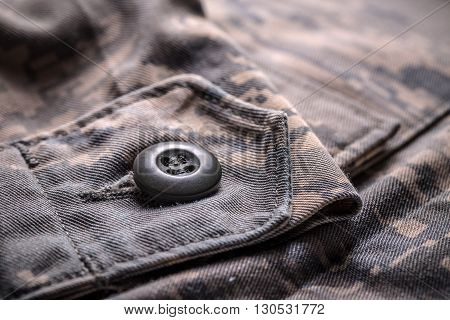 Shirt with camouflage pattern close up shot