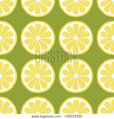 seamless pattern of lemons-vector illustration. Bright print texture lemon yellow. Natural bright lemon. Lemon wedges are symmetrical. Lemon fruit.