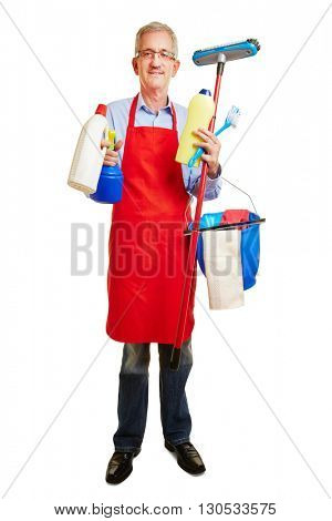 Man with many cleaning supplies in his hands as housemaker
