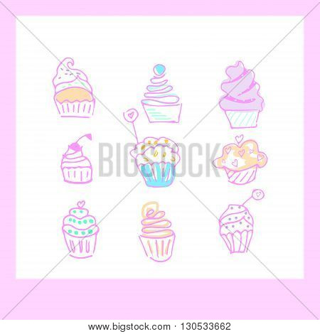 Cupkes doodle icons. Nine cupcakes icons in hand drawn doodle style