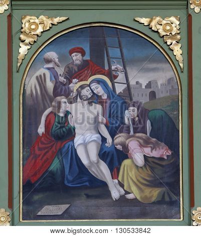 STITAR, CROATIA - AUGUST 27: 13th Stations of the Cross,Jesus' body is removed from the cross, church of Saint Matthew in Stitar, Croatia on August 27, 2015