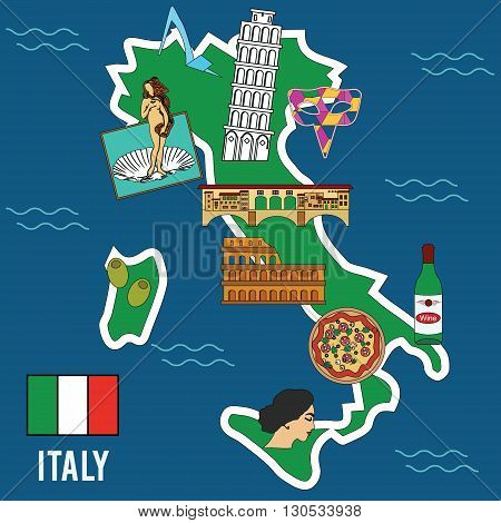 Italy travel. Famous places and symbols of Italy. Welcome to Italy vector illustration