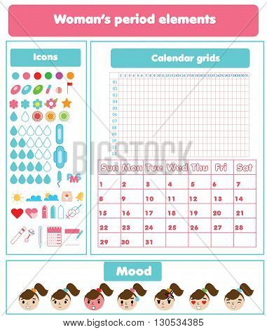 Woman menstrual period design elements set. Calendar grids icons and emoji set for mobile and web applications gynecological brochures infographics and etc