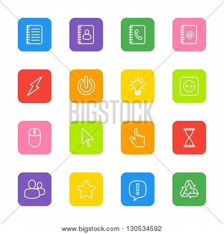 white line web icon set on colorful rounded rectangle for web design user interface (UI) infographic and mobile application (apps)
