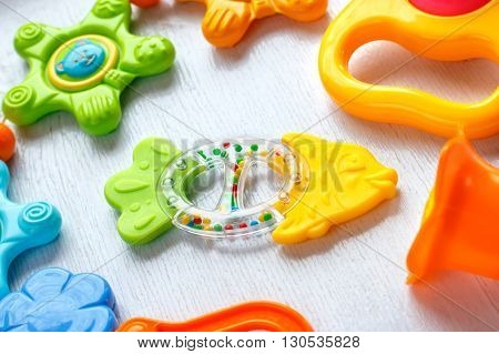 Newborn set of toys of teether and colorful rattles