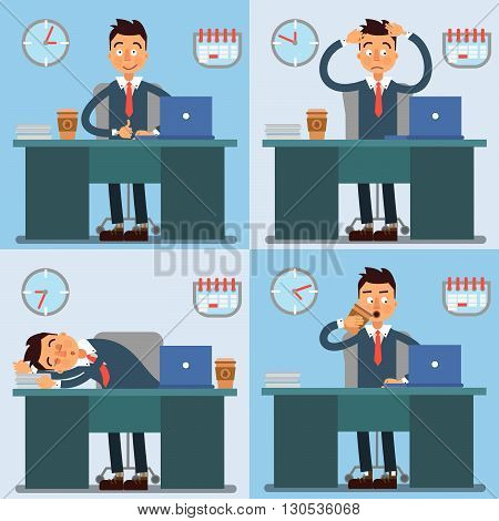 Businessman Working Day. Businessman at Work. Office Life Vector illustration