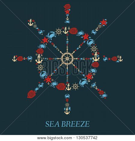 Icon helm of the Sea-vector illustration.Nautical anchor helm sea creatures an isolated background. Sea animals Crabs fish octopi. Elements and icons for cards illustration poster and web design