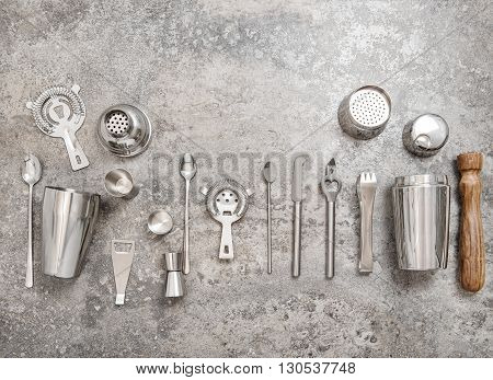 Bar tools for making cocktail. Shaker jigger strainer spoon. Food and beverages concept
