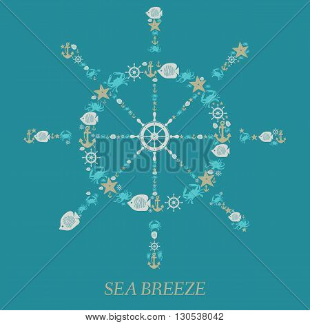 Icon helm of the Sea-vector illustration.Nautical anchor helm sea animals isolated on emerald background. Sea animals Crabs fish octopi. Elements and icons for cards illustration poster and web design