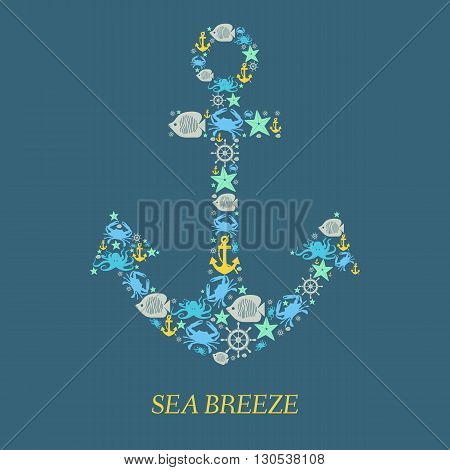 Icon Sea anchor. Nautical anchor helm sea creatures on an isolated blue-green background. Sea animals Crabs fish octopi. Elements and icons for cards illustration poster and web design